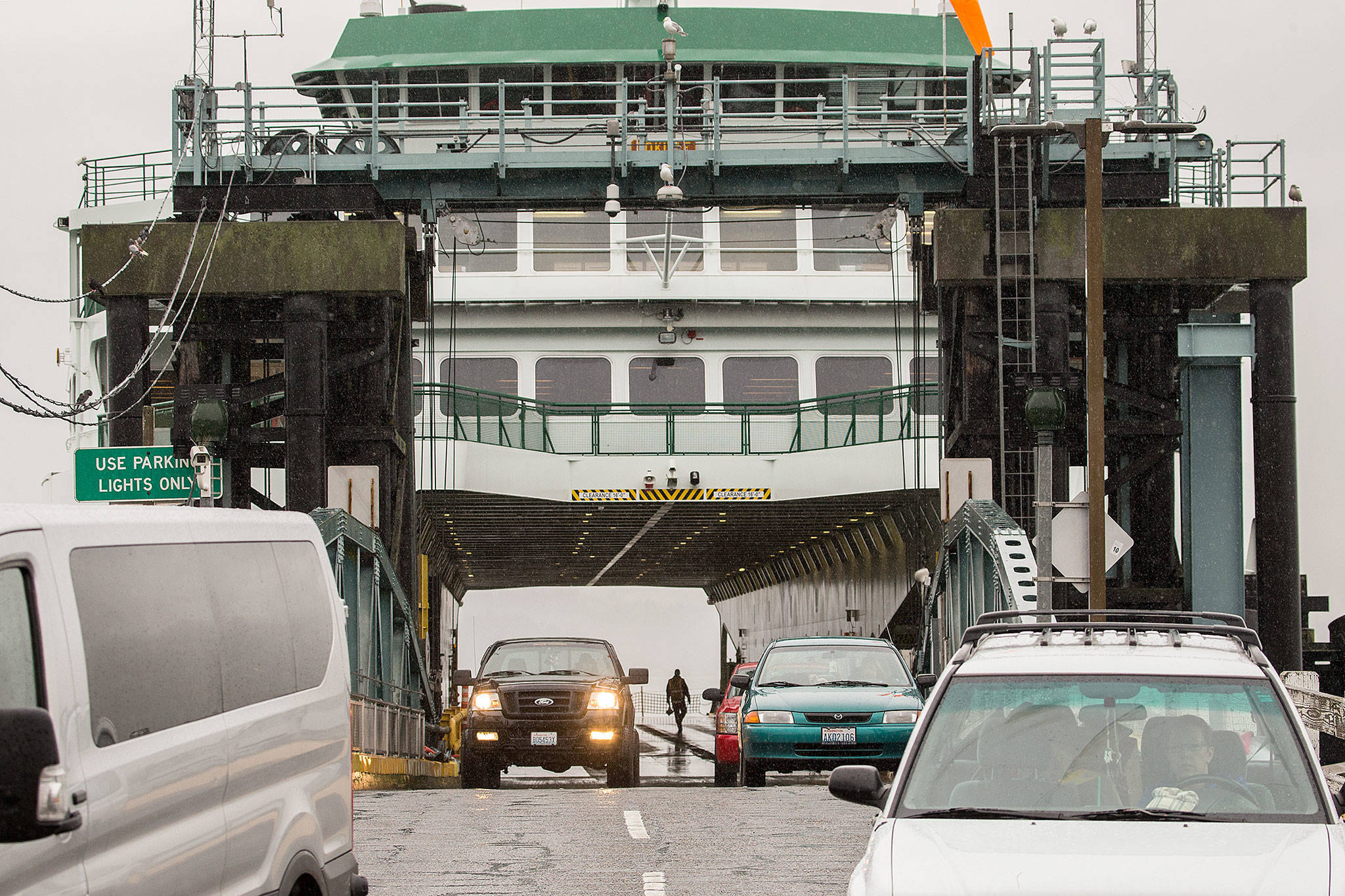 Commuters from Whidbey Island disembark their vehicles from the ferry Tokitae in 2018 in Mukilteo. (Andy Bronson / Herald file)