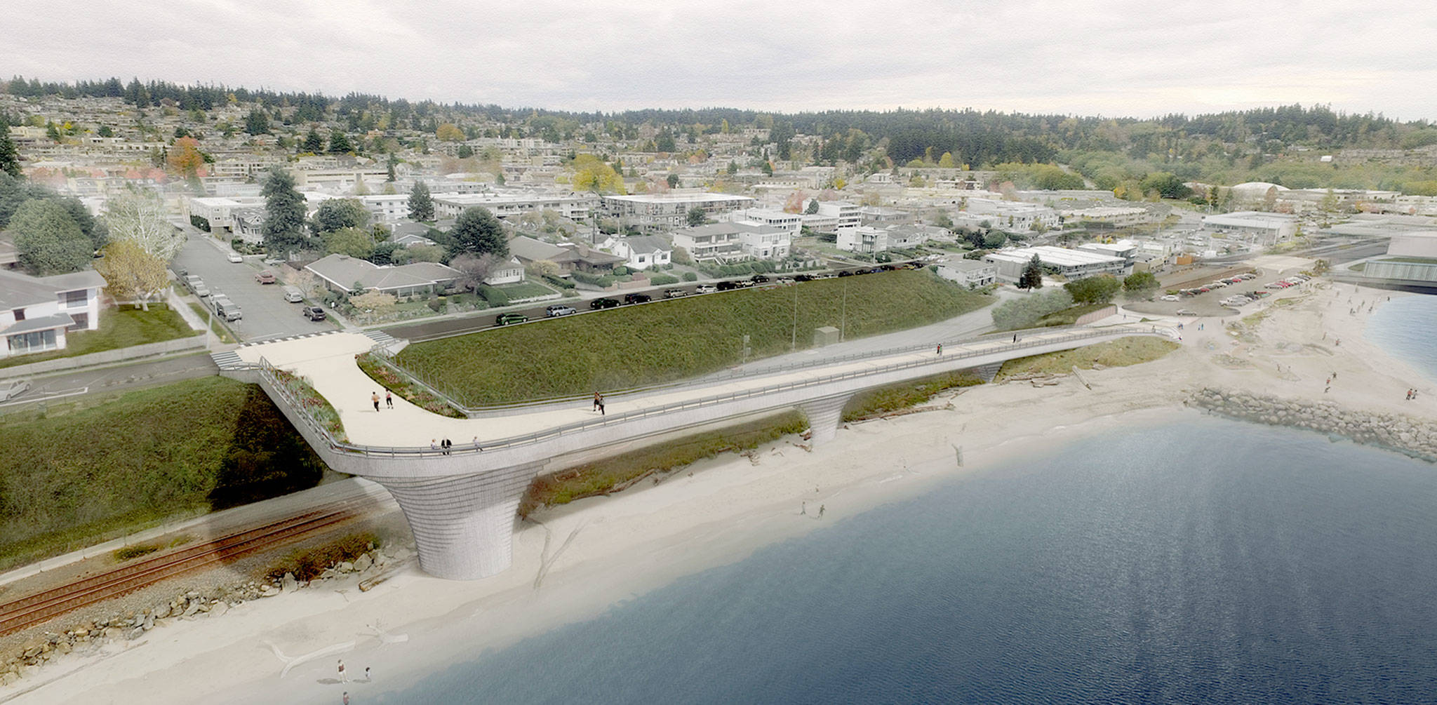 An artist's conception of the proposed Edmonds waterfront connector, for which the city council voted 4-3 to scrap plans. (City of Edmonds)