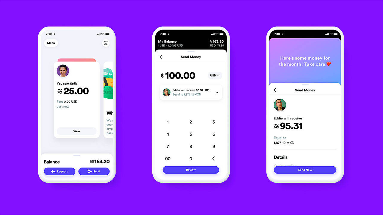 This undated image provided by Calibra shows what the Calibra digital wallet app might look like. Facebook formed the Calibra subsidiary to create a new digital currency similar to Bitcoin for global use, one that could drive more e-commerce on its services and boost ads on its platforms. Facebook unveiled the ambitious plan Tuesday. (Calibra via AP)