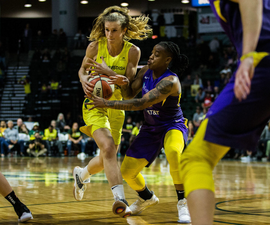 Seattle Storm's Blake Dietrick drives to the hoop during the game against the Los Angeles Sparks at Angel of the Winds Arena on Friday, June 21, 2019 in Everett, Wash. (Olivia Vanni / The Herald)