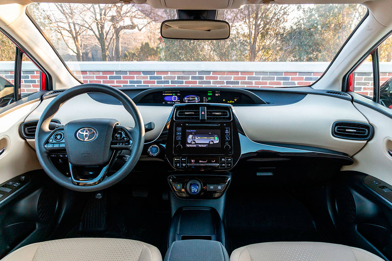 Interior revisions of the 2019 Toyota Prius include black accents replacing the previous model's white trim. (Manufacturer photo)