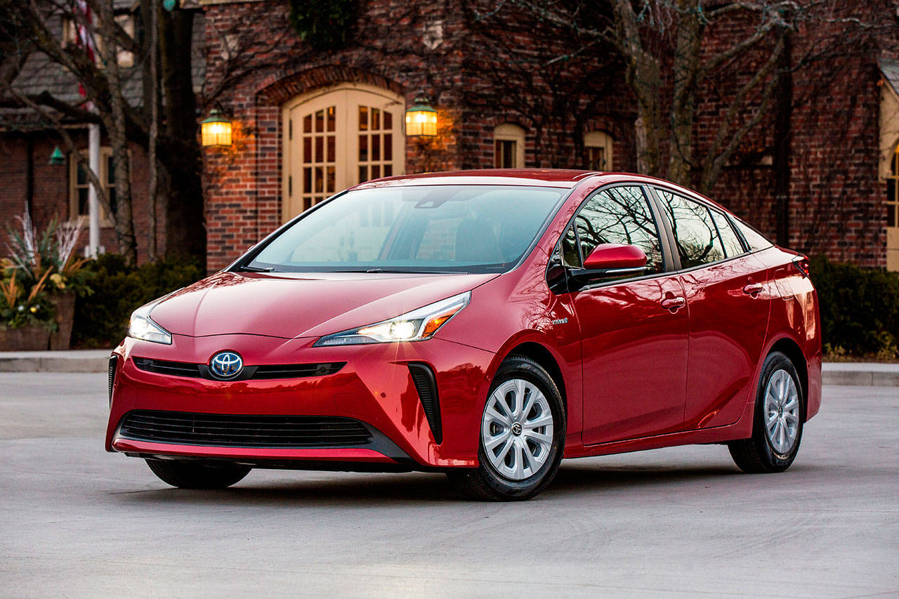 For 2019 the Toyota Prius has a modified exterior that maintains its trademark eccentricity but dials it down a bit. (Manufacturer photo)