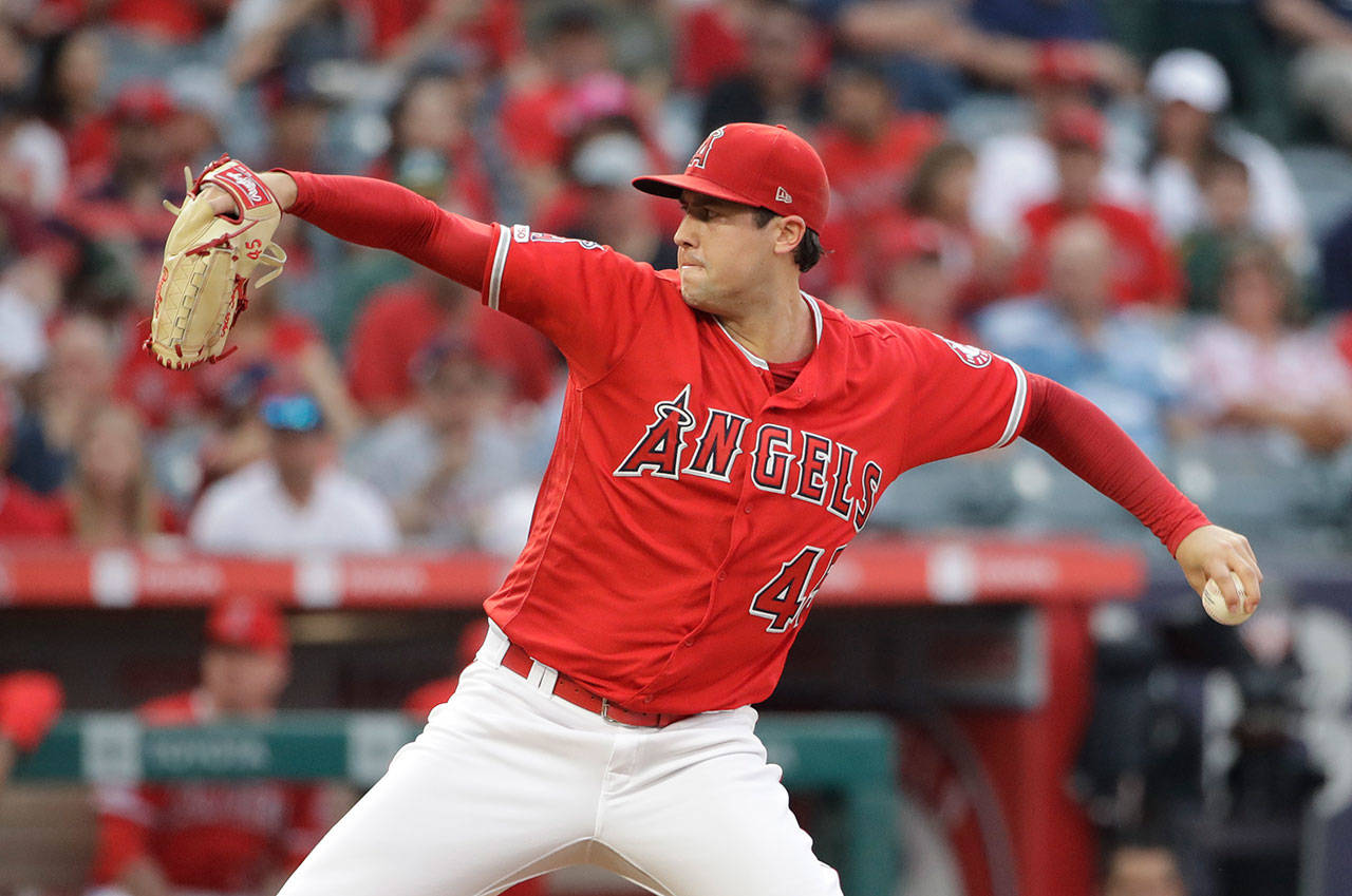 Tyler Skaggs of the Los Angeles Angels pitches against the Oakland Athletics during the first inning of Saturday's game in Anaheim, California. (AP Photo/Marcio Jose Sanchez)