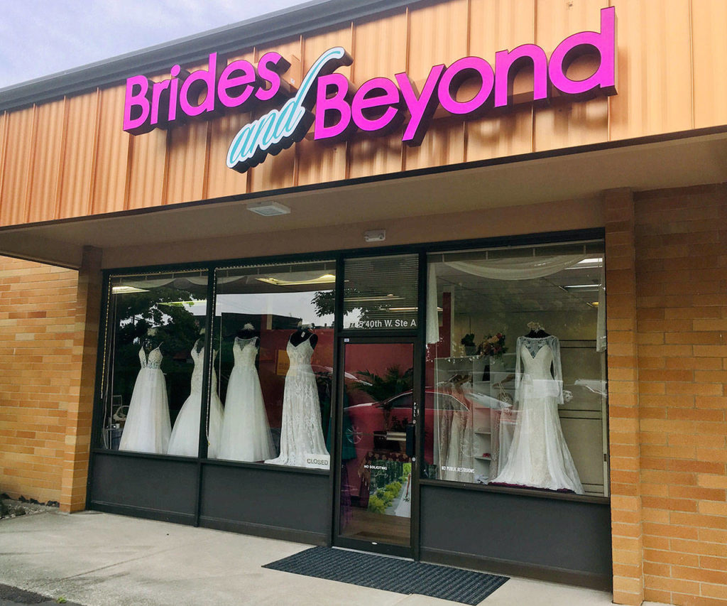 The Brides and Beyond boutique in Lynnwood on Friday, after a burglary during which dresses and customer data were stolen. (Sue Misao / The Herald)
