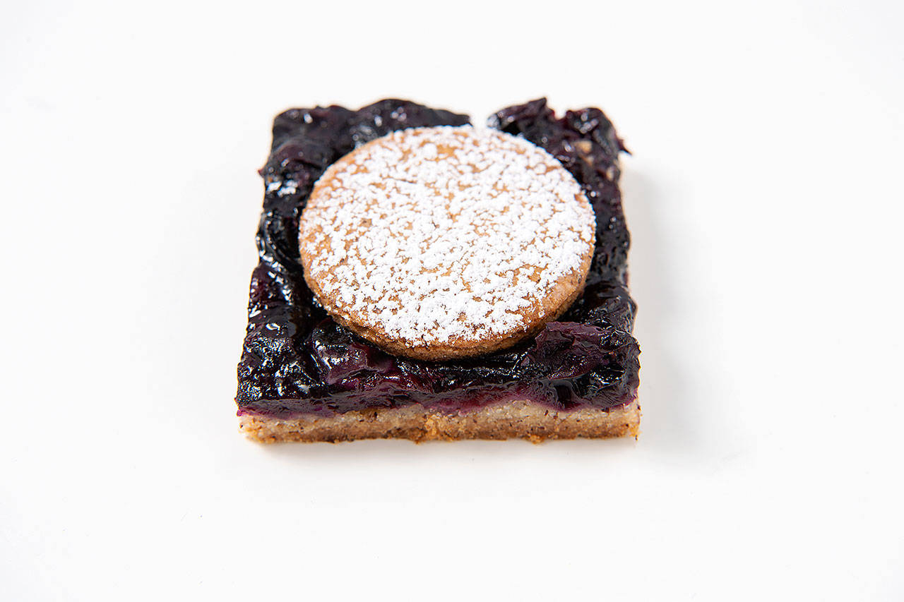 Blueberry bars with a nutty press-in crust. (Mariah Tauger/Los Angeles Times)