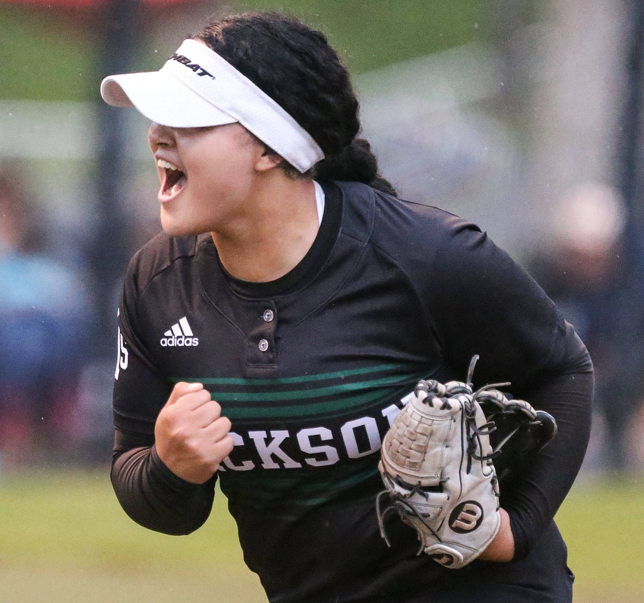 Jackson's Iyanla De Jesus celebrates while coming off the mound against Lake Stevens at Phil Johnson Fields in Everett on May 15. (Kevin Clark / The Herald)
