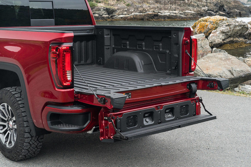 The 2019 GMC Sierra's six-function MultiPro tailgate is a first for the industry. (Manufacturer photo)