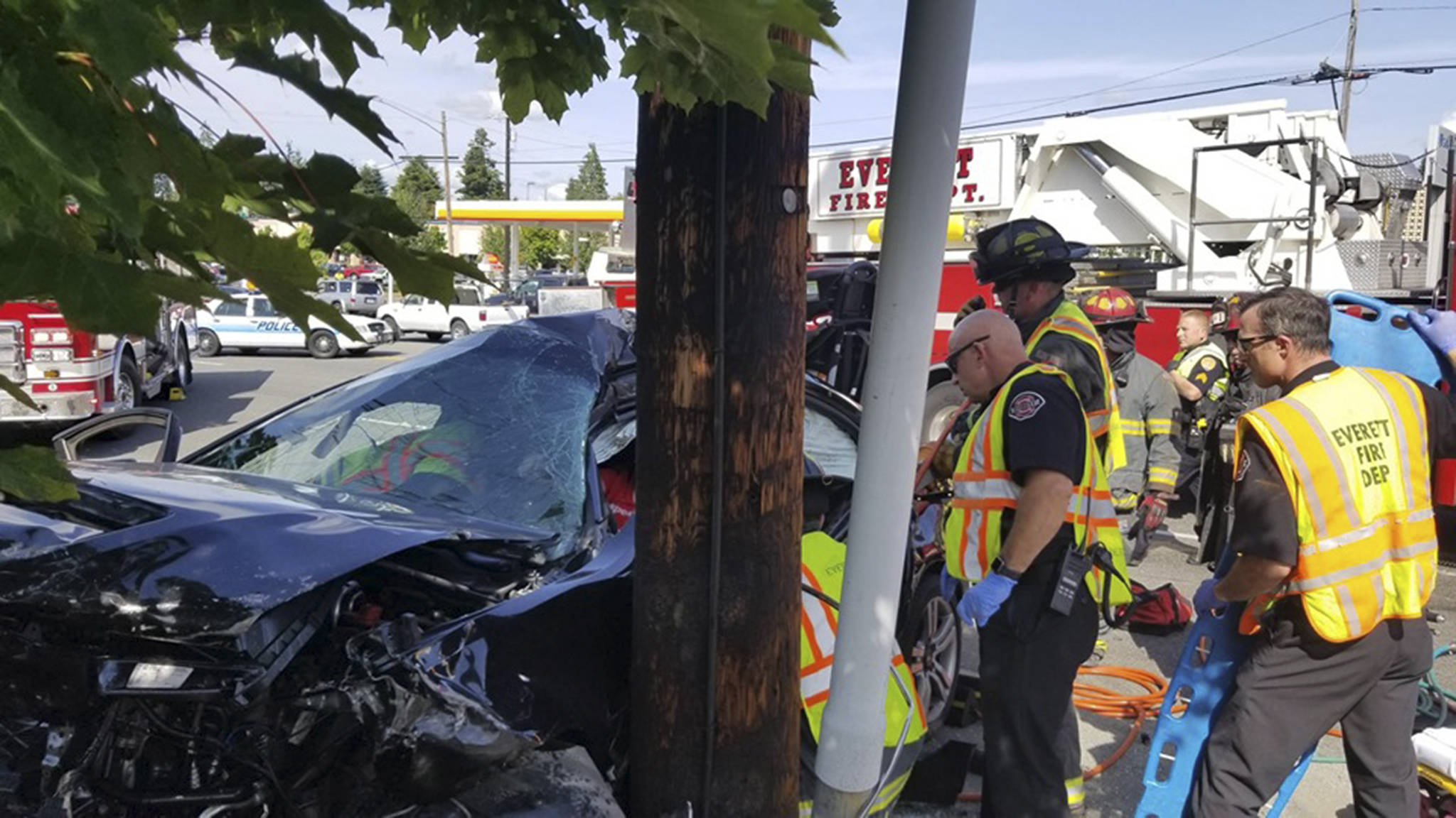 Two people were seriously injured after a multiple-car collision on Evergreen Way. (Everett Fire)