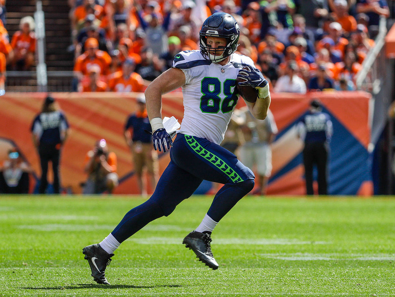 Seahawks tight end Will Dissly (88) runs after a catch during a game against the Broncos on Sept. 9, 2018, in Denver. (AP Photo/Jack Dempsey)