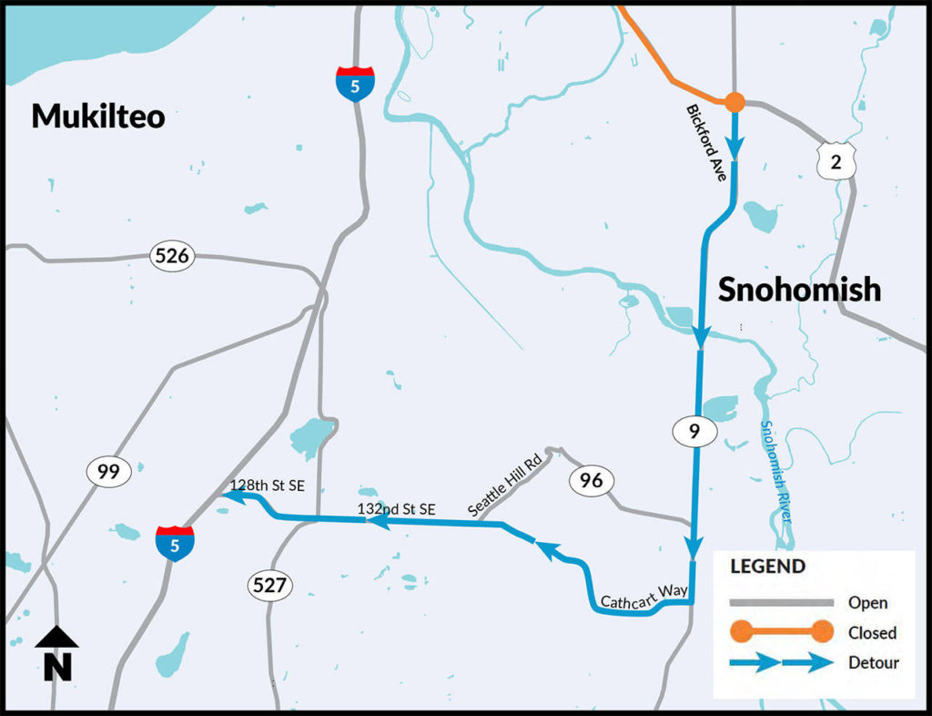 Southbound detour for the weekend closure of the U.S. 2 trestle. (Washington State Department of Transportation)