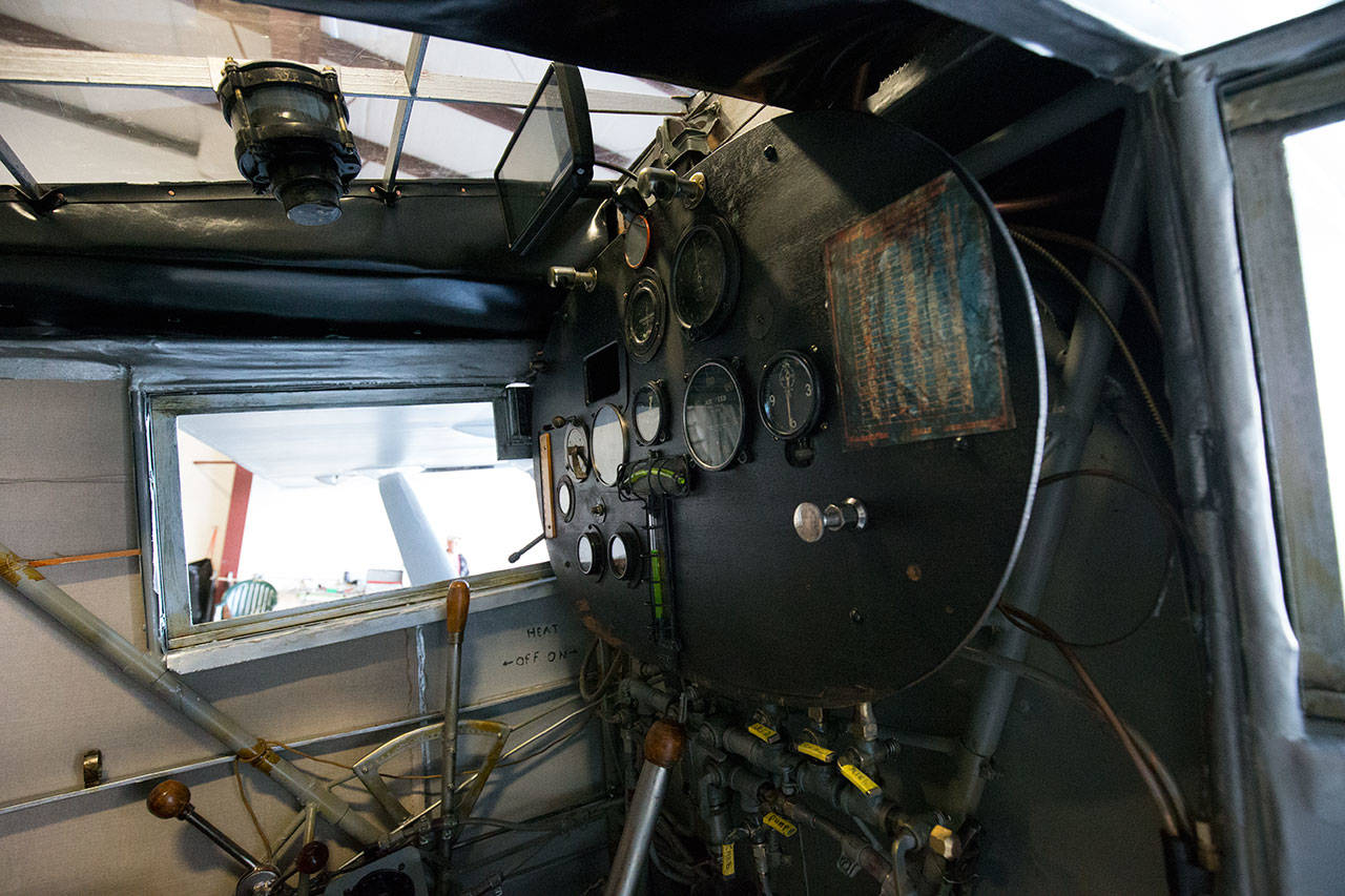 The cockpit of John Norman's replica of the Spirit of St. Louis. (Andy Bronson / The Herald)