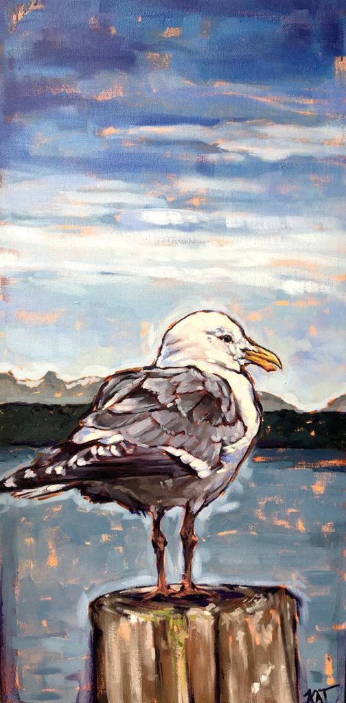 Kat Houseman, a Bellingham wildlife artist who created the poster for this year's Fresh Paint festival, featured the iconic gull in her design.