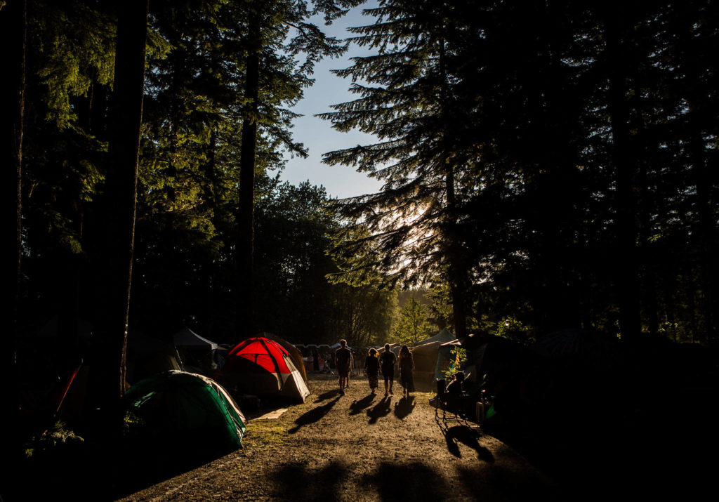 People walk through the forest during the first day of Summer Meltdown on Thursday, Aug. 1, 2019 in Darrington, Wash. (Olivia Vanni / The Herald)