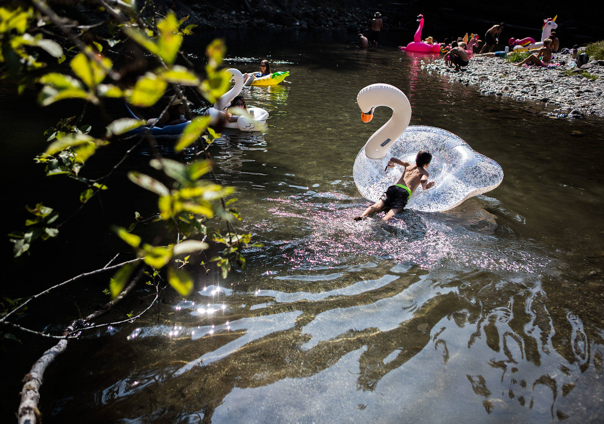 People enjoy the river during the third day of Summer Meltdown on Saturday, Aug. 3, 2019 in Darrington, Wash. (Olivia Vanni / The Herald)