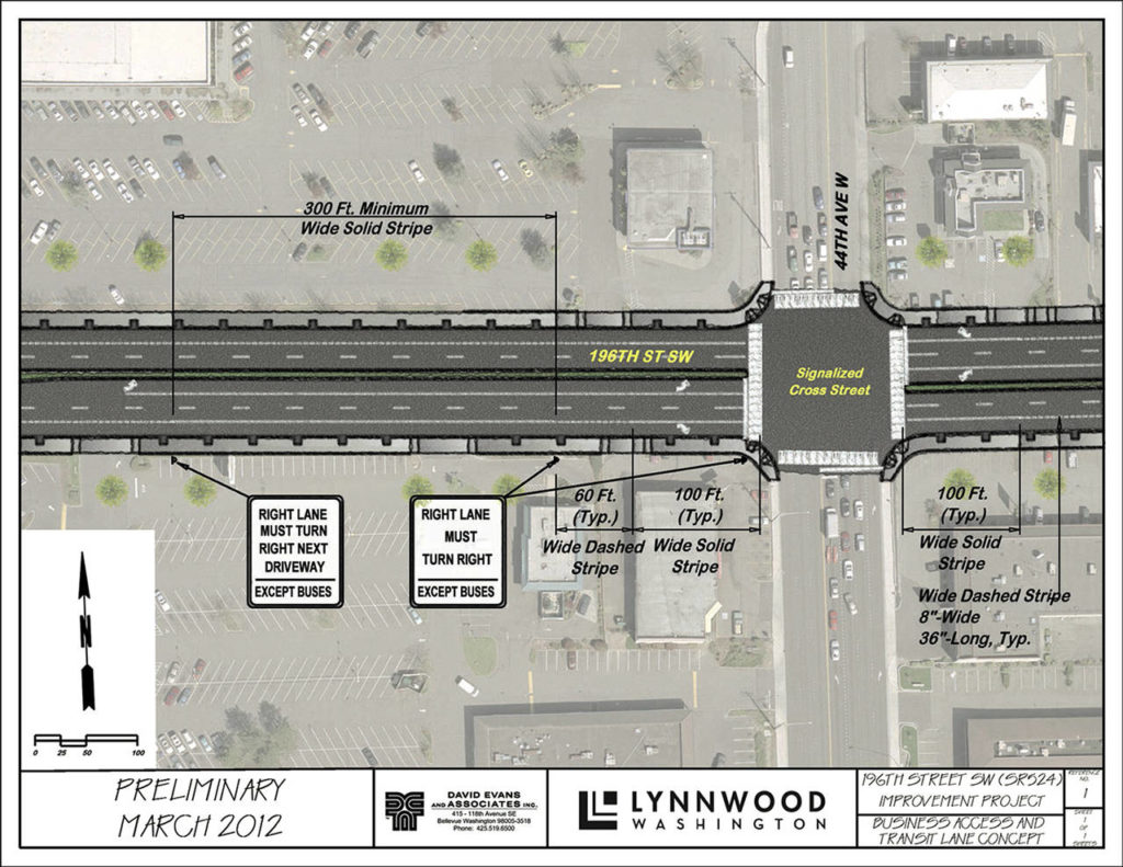 "The city of Lynnwood plans to overhaul 196th Street SW, adding lanes and aiming for a more ""downtown"" feel. (City of Lynnwood)"