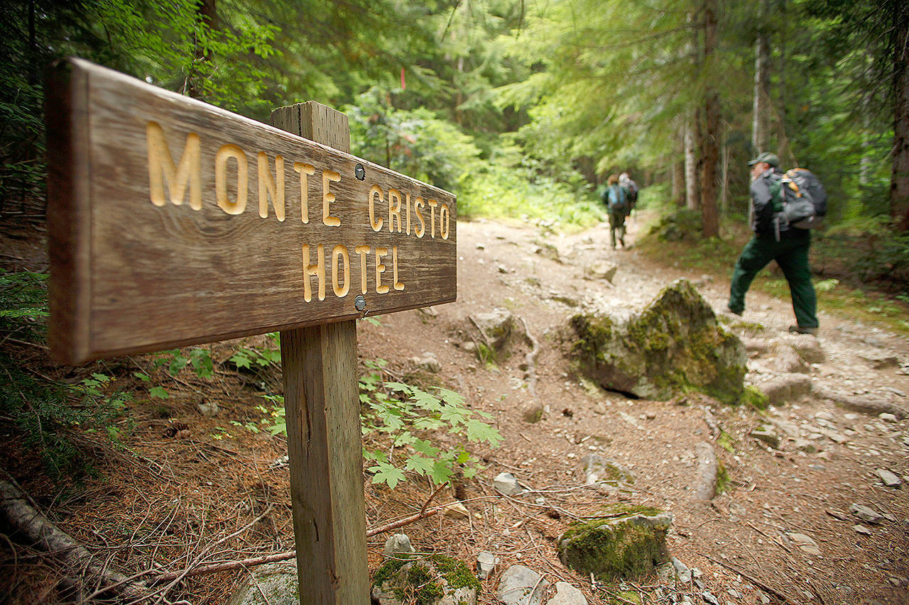 The trail to the old Monte Cristo townsite, near Barlow Pass on the Mountain Loop Highway. (Mark Mulligan / Herald file)