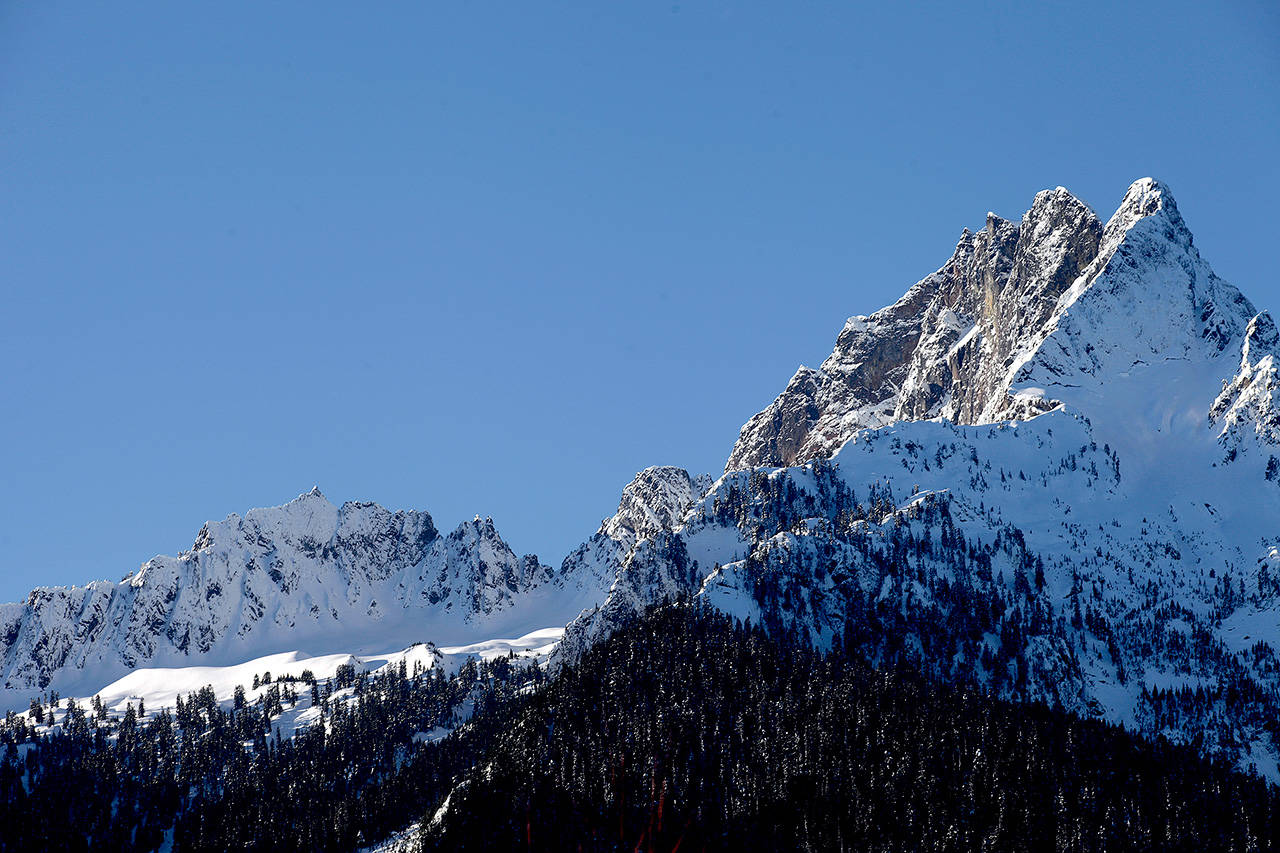 Whitehorse Mountain, elevation 6,850 feet, looms over Darrington. (Michael O'Leary / Herald file)