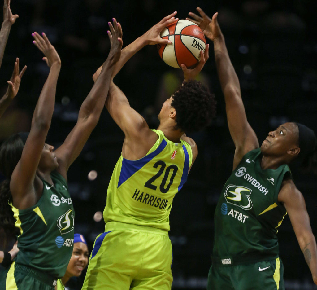 Scenes of the Seattle Storm's final regular season home game against the Dallas Wind Thursday evening at Angel of the Wings in Everett on August 8, 2019. The Storm won 69-57. (Kevin Clark / The Herald)