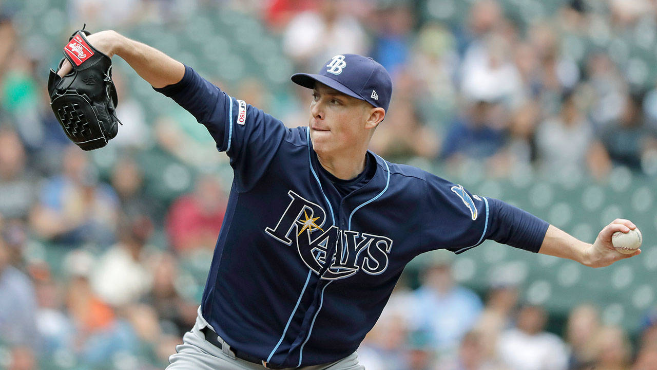 Tampa Bay's Ryan Yarbrough, a former Seattle prospect, throws against the Mariners during the Rays 1-0 win over Seattle on Sunday at T-Mobile Park in Seattle. Yarbrough threw 8.2 shutout innings in the win. (AP Photo/Ted S. Warren)