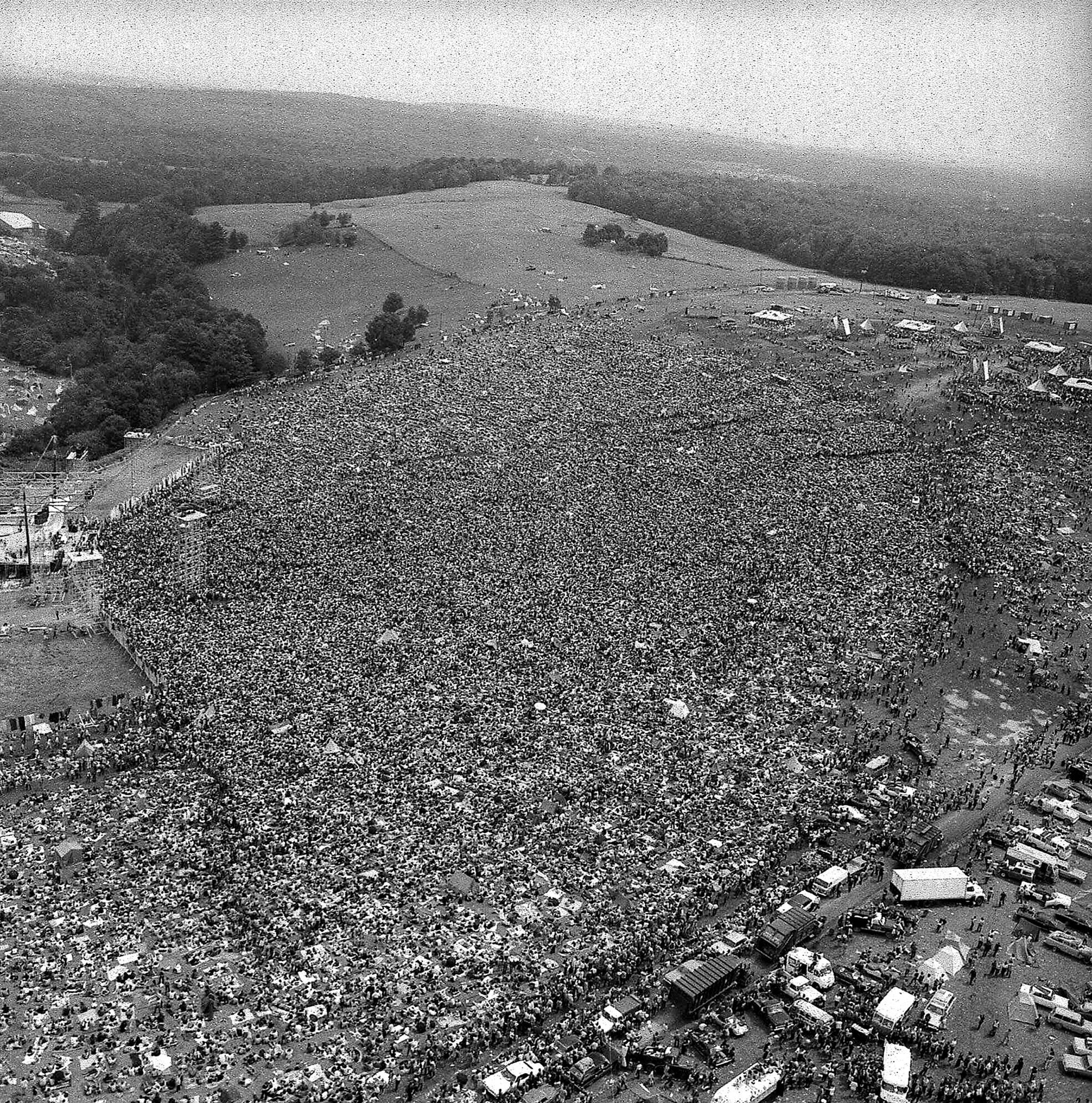 A crowd of about 400,000 at the Woodstock Music and Arts Festival in Bethel, New York, on Aug. 16, 1969. (AP Photo, File)