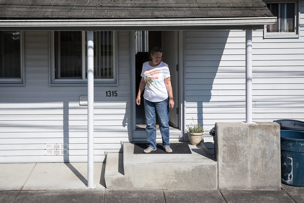 Kathleen Mullen is one of the last residents to leave as the aging WWII-era housing heads toward demolition. (Lizz Giordano / The Herald)