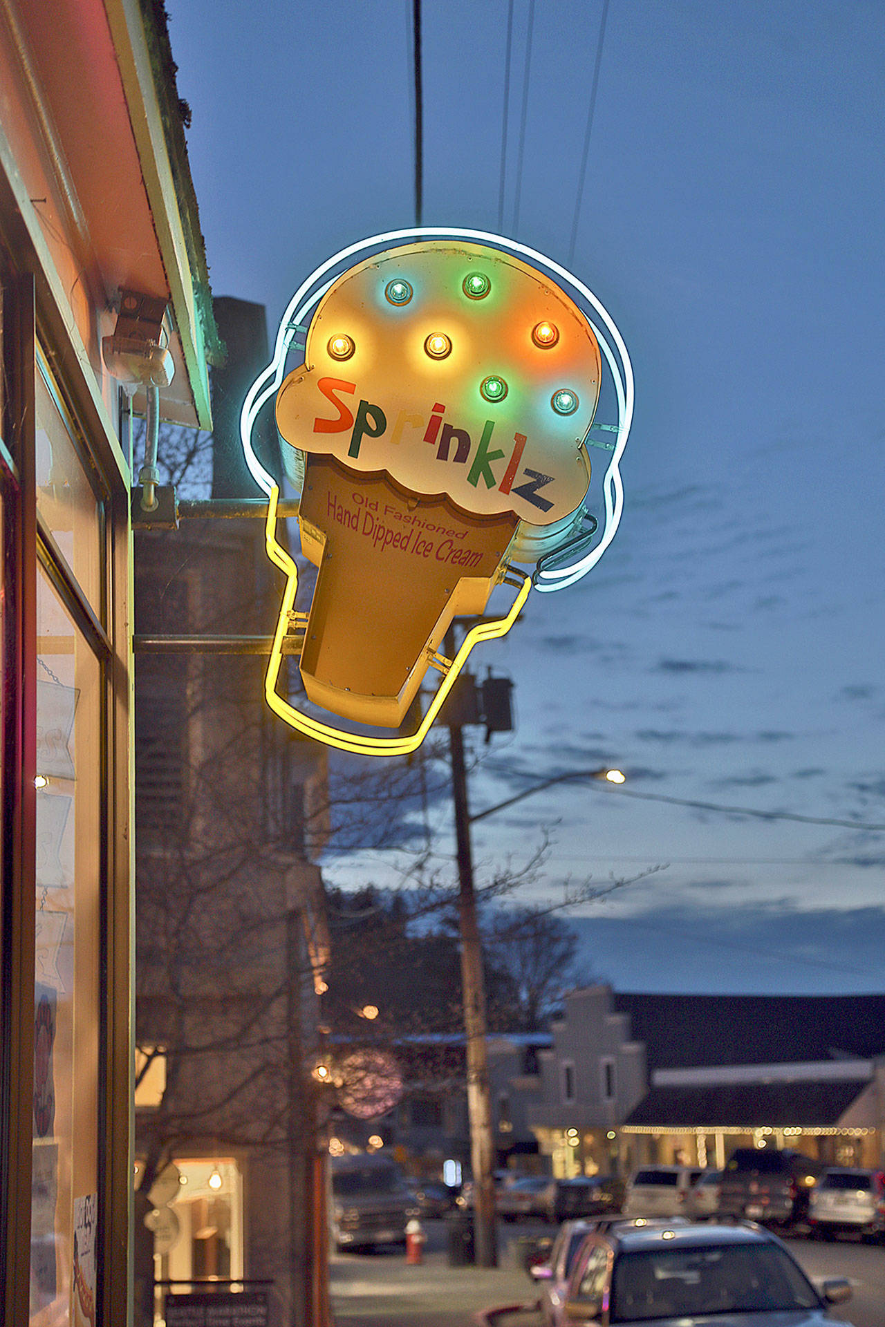 The Sprinklz Ice Cream sign on First Street by Tim Leonard. (Michael Stadler / Stadler Studio Photography)