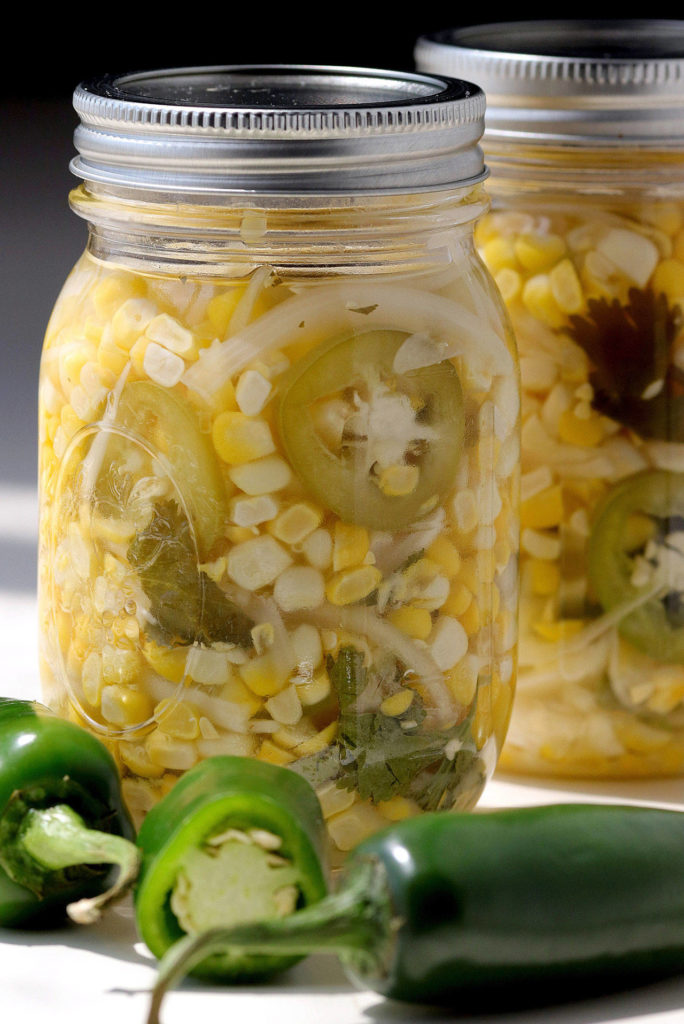 Jalapeno-cilantro pickled corn, for all its fancy name, is just corn relish with a little bit of a kick. (Hillary Levin/St. Louis Post-Dispatch)