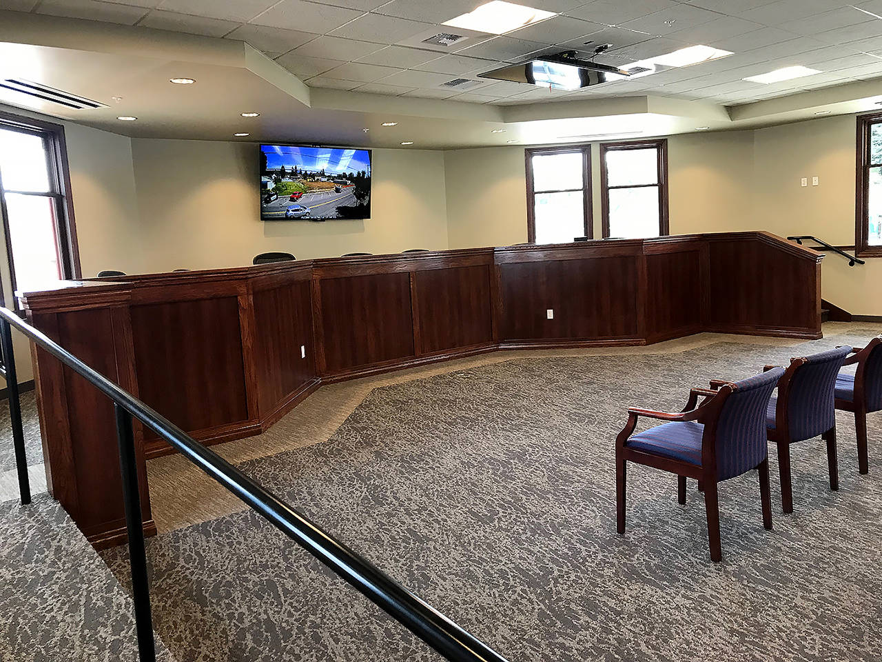 City Council chambers in the new Granite Falls City Hall. (Stephanie Davey / The Herald)