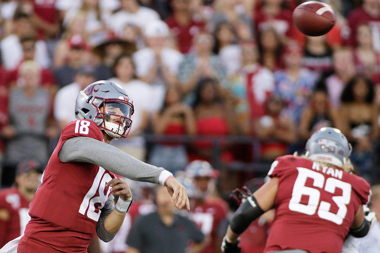 Washington State quarterback Anthony Gordon (18) throws a pass during the first half of a game against New Mexico State on Aug. 31, 2019, in Pullman. (AP Photo/Young Kwak)                                 Washington State quarterback Anthony Gordon (18) throws a pass during the first half of the team's NCAA college football game against New Mexico State in Pullman, Wash., Saturday, Aug. 31, 2019. (AP Photo/Young Kwak)