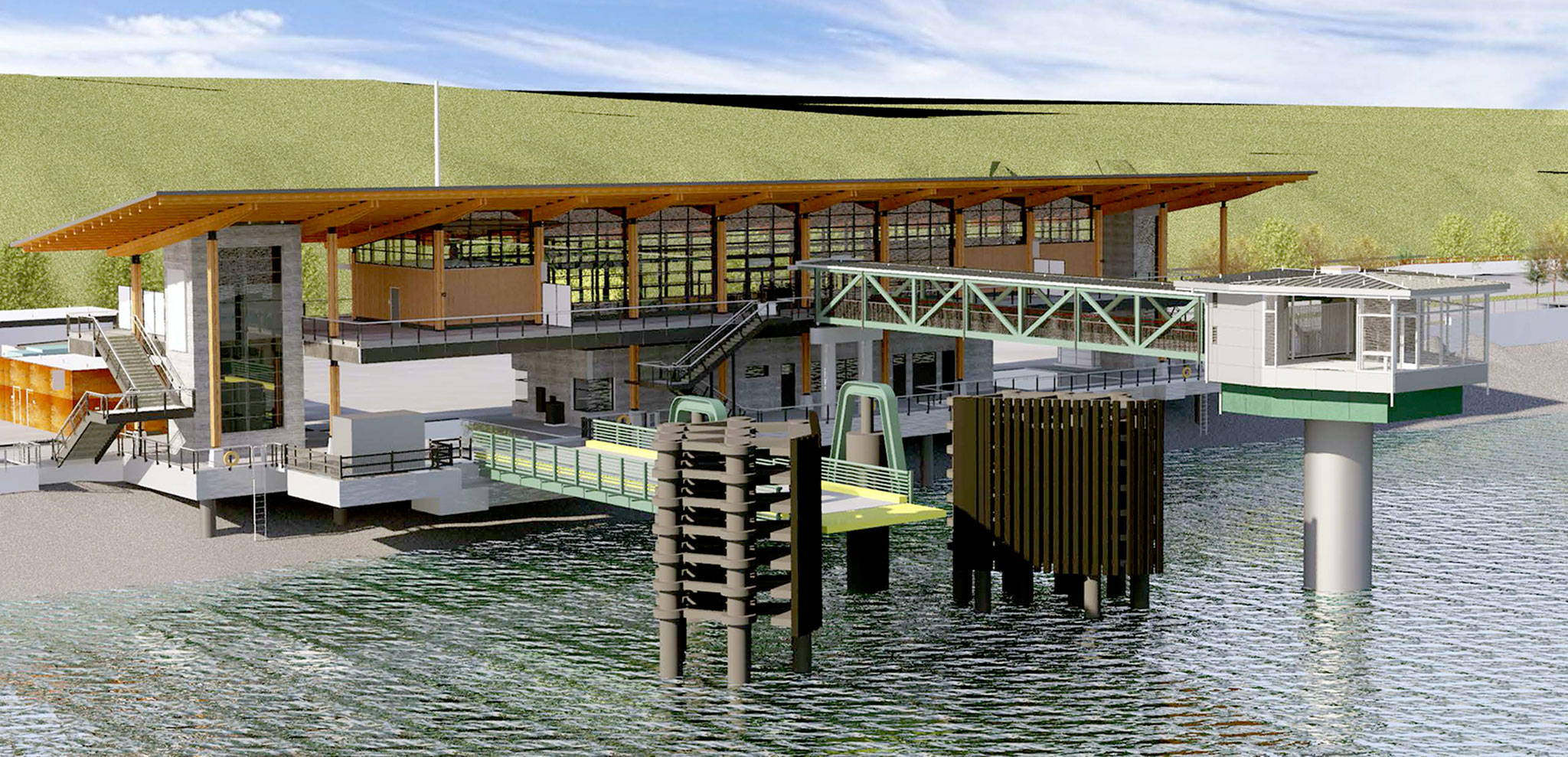 An artist's rendering shows the new ferry terminal under construction in Mukilteo. (Washington State Department of Transportation)