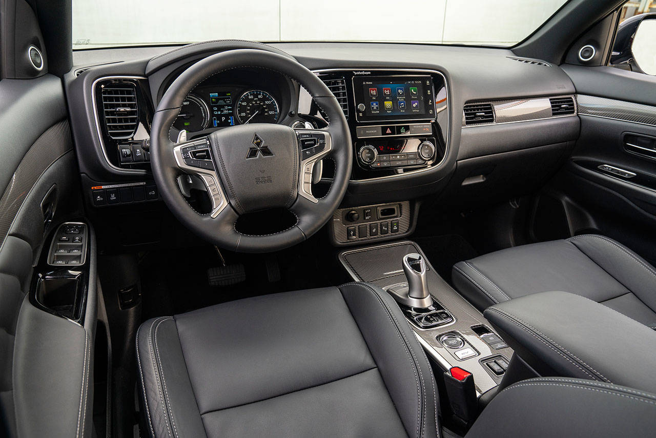 For 2019, the roomy interior of the Mitsubishi Outlander PHEV has climate-control rear air vents and an added USB port for rear-seat passengers. (Manufacturer photo)
