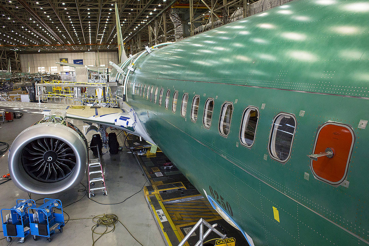 A Boeing 737 MAX 9 jetliner sits on the production floor at the company's manufacturing facility in Renton in 2017. (David Ryder / Bloomberg file)