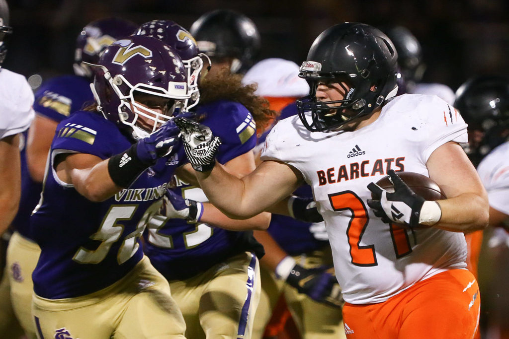 Lake Stevens trounces Monroe 73-28 Friday night at Lake Stevens High School on September 20, 2019. (Kevin Clark / The Herald)