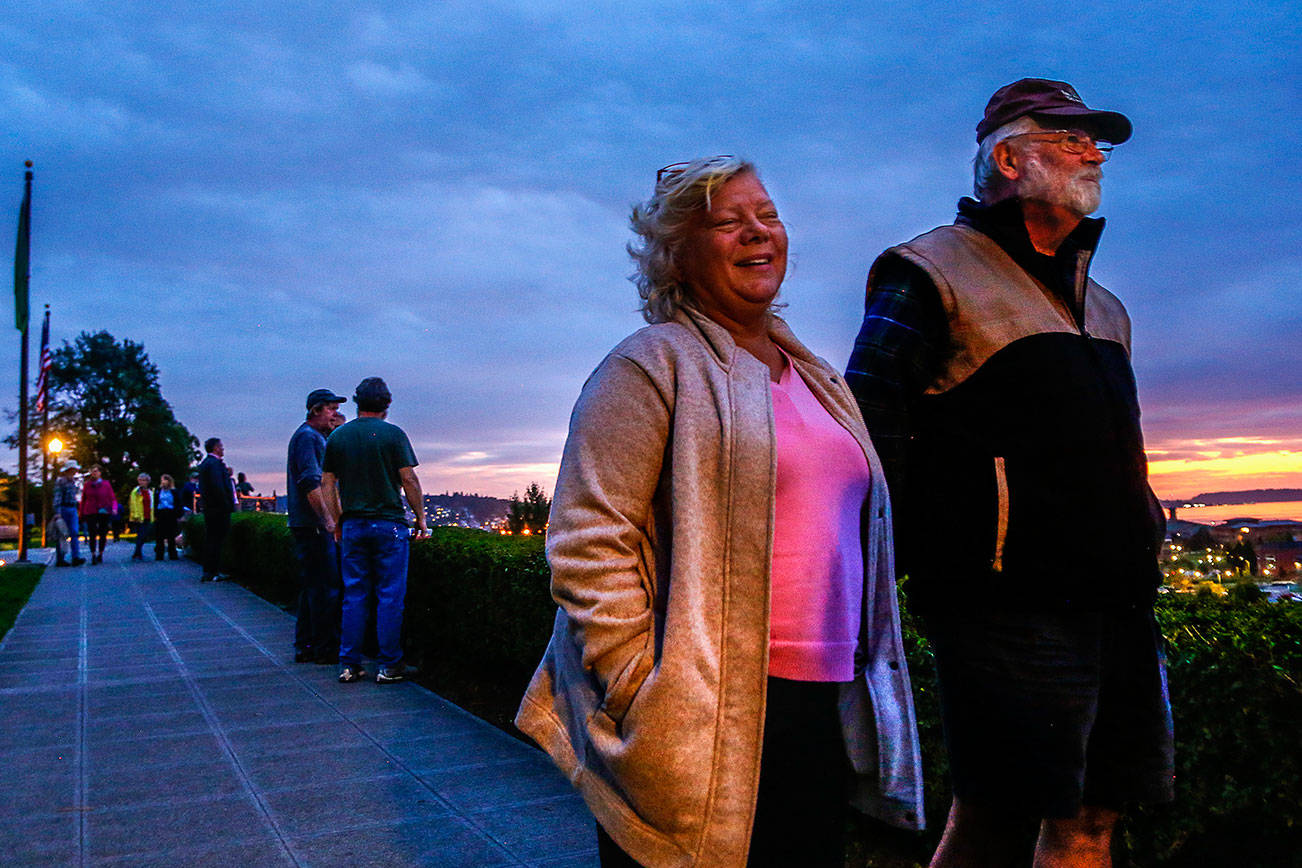 Tim Knopf, 60, with his wife, Jackie, has lived in Everett since 1978. He recalled years of efforts by the late Drew Nielsen to bring a pedestrian bridge to the waterfront. (Dan Bates / The Herald)