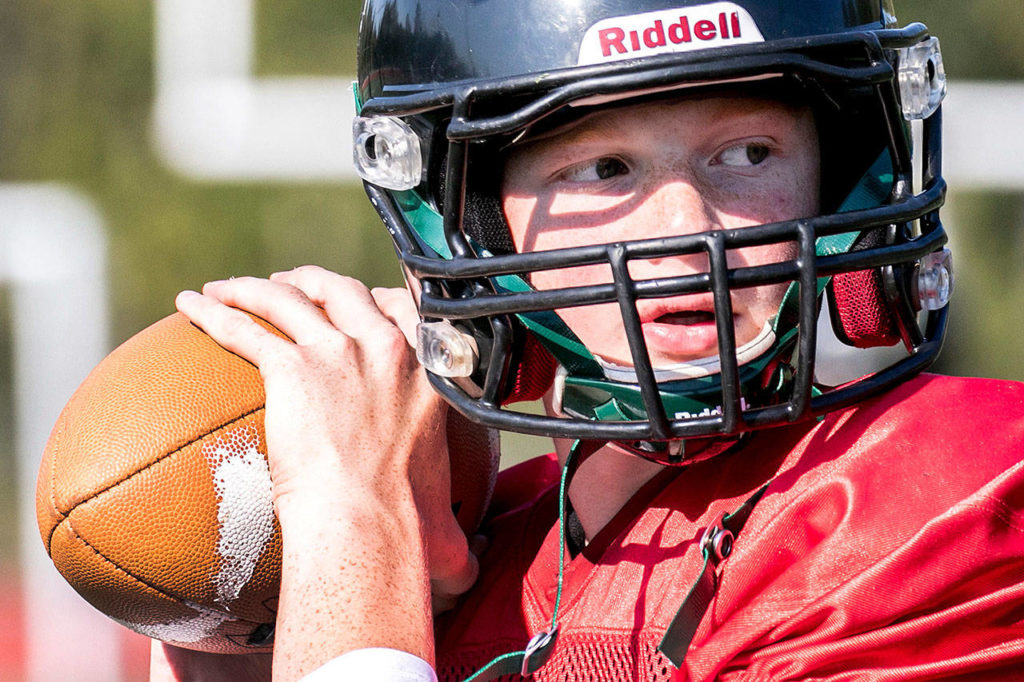 Caleb Koellmer started at quarterback for Marysville Getchell from 2015-18. (Kevin Clark / The Herald)