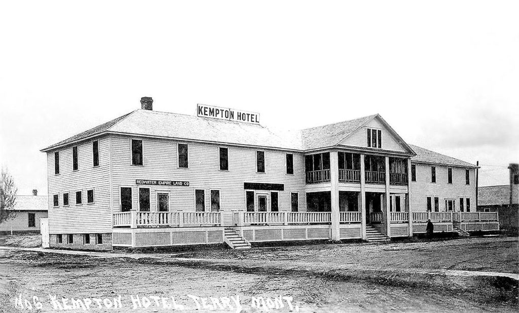 The Kempton Hotel, opened in 1913 by Berney Kempton, is still in business in Terry, Montana. (Family photo)