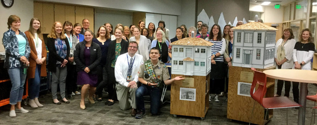 "Eagle Scout candidate Parker Kee presented his ""Read More!"" Sharing Libraries to Machias Elementary School staff and teachers. (Submitted photo)"
