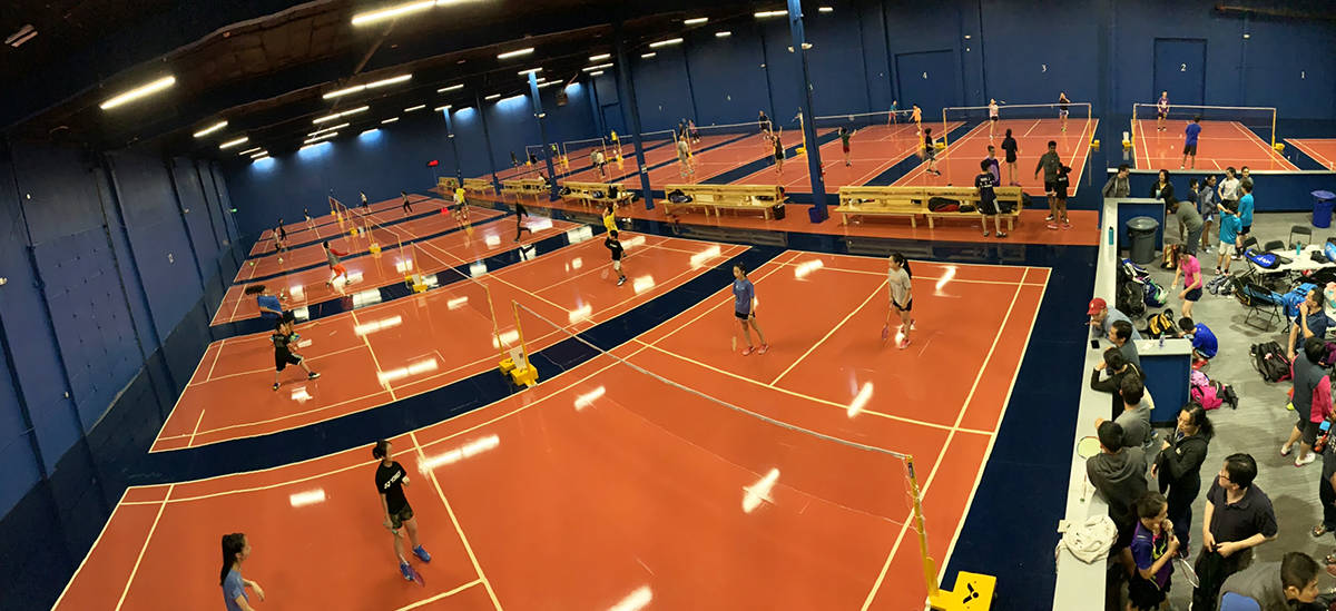 Bellevue Badmonton Club's new facility in Renton has many courts to accommodate dozens of players at a time.