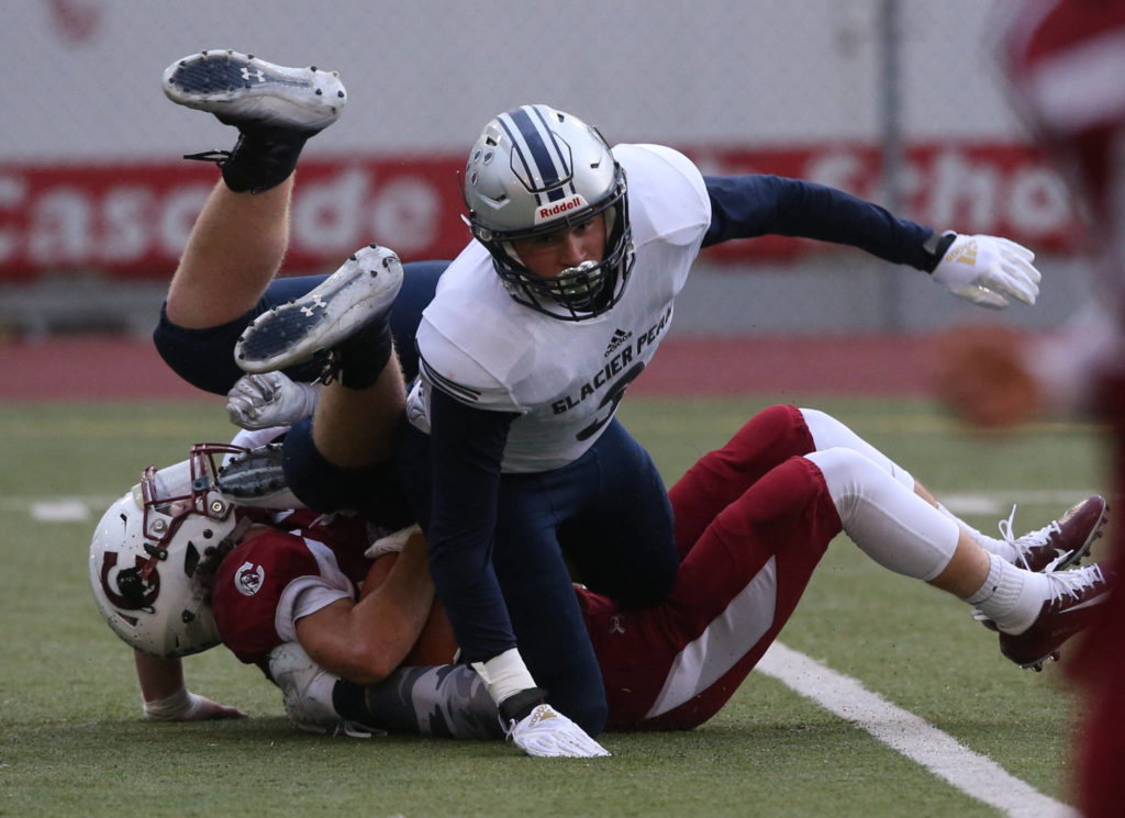 Glacier Peak took on Cascade in football at Everett Memorial Stadium on Friday, Oct. 4, 2019 in Everett, Wash. (Andy Bronson / The Herald)