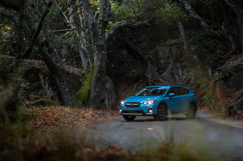 In the Subaru lineup, Lagoon Blue Pearl paint is exclusive to the new 2019 Crosstrek Hybrid plug-in compact SUV. (Manufacturer photo)