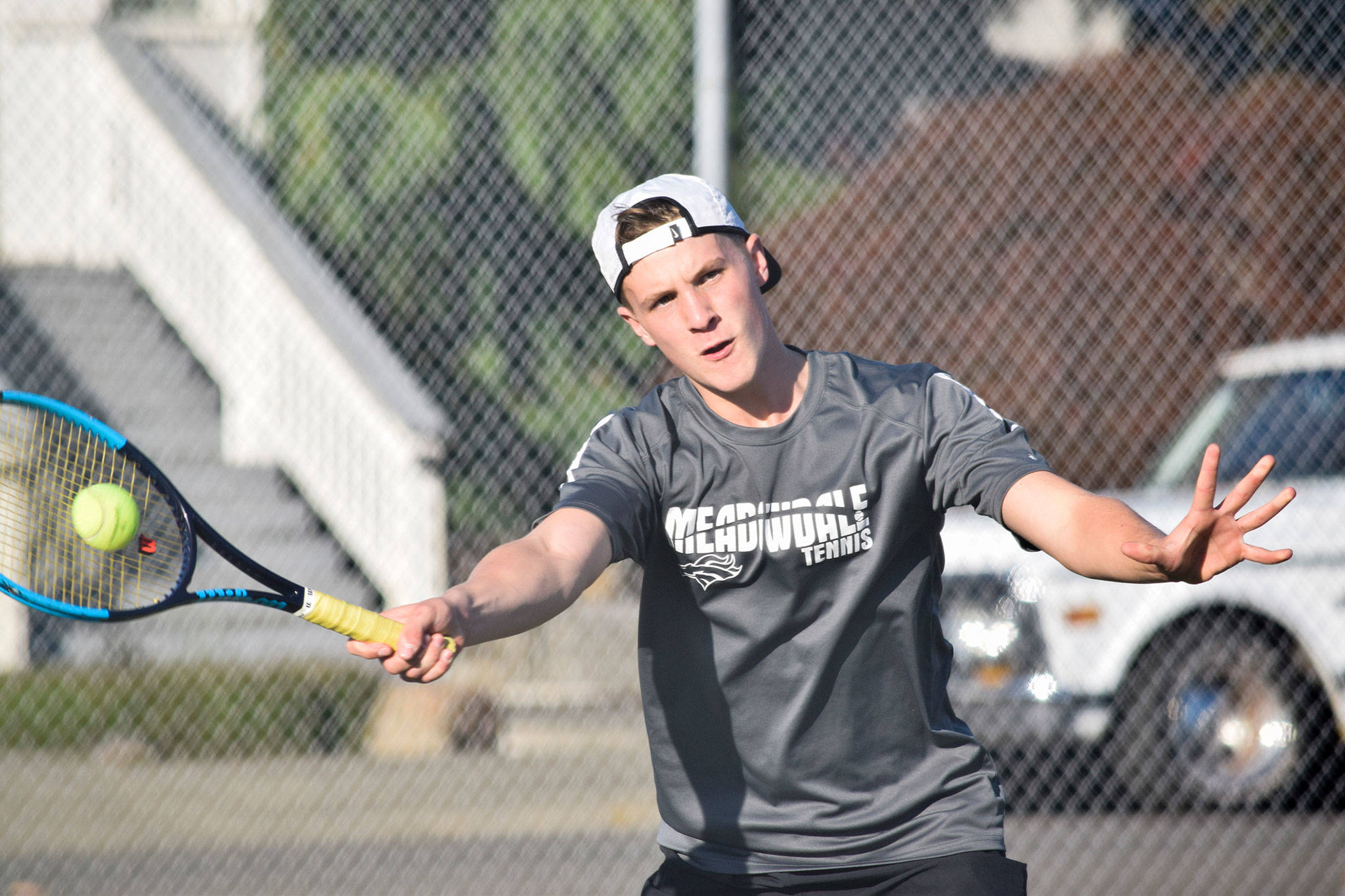 Meadowdale's Ben Fahey plays doubles against Marysville Pilchuck on Thursday, Oct. 10 at Totem Middle School. (Katie Webber / The Herald)