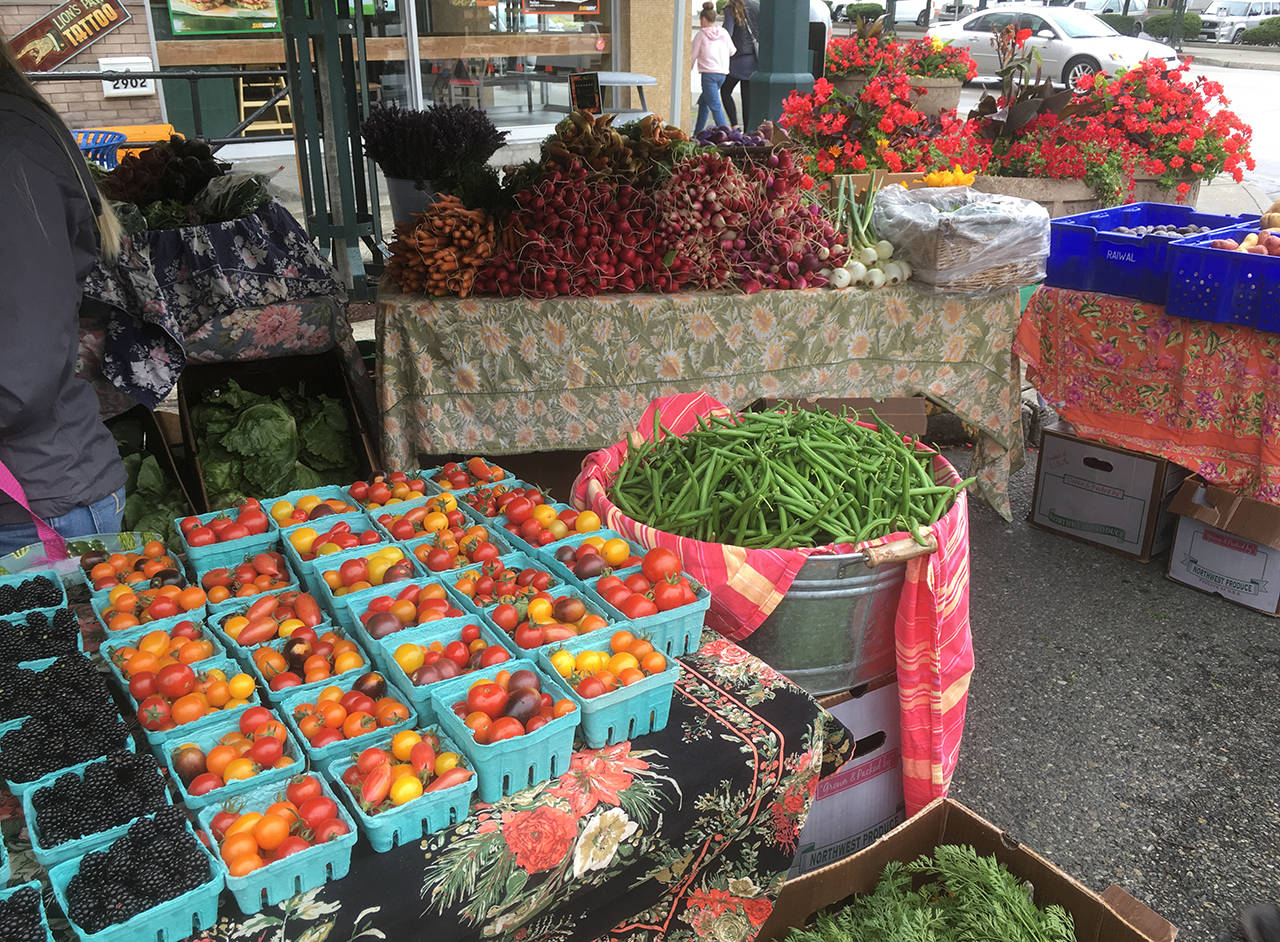 Everett Farmers Market bounty at its downtown location is seen Aug. 11. (Sue Misao / Herald file)