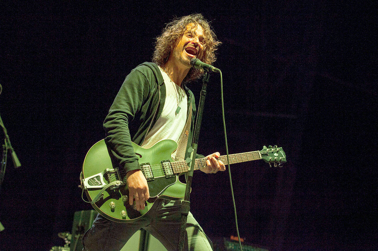 Chris Cornell of Soundgarden performs at Rock on the Range in Columbus, Ohio, on May 19, 2013. Soundgarden are among the 16 acts nominated for the Rock and Roll Hall of Fame's 2020 class. (Photo by Barry Brecheisen/Invision/AP, File)