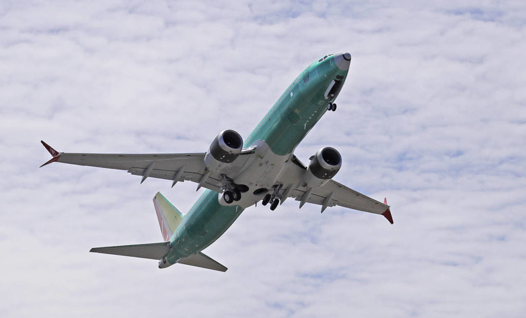 In this May 8 photo, a Boeing 737 Max 8 jetliner takes off on a test flight in Renton. (AP Photo/Ted S. Warren, File)