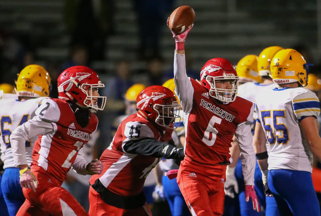 Marysville Pilchuck dominates Ferndale 42-14 Friday night at Quil Ceda Stadium in Marysville. (Kevin Clark / The Herald)