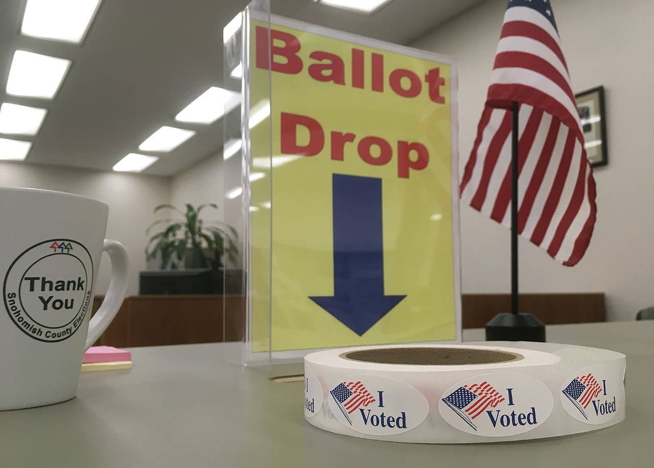 The Snohomish County Auditor's Office is one of 22 locations where election ballots can be dropped off for the general election. Ballots must be returned or postmarked by Nov. 5. (Sue Misao / Herald file photo)