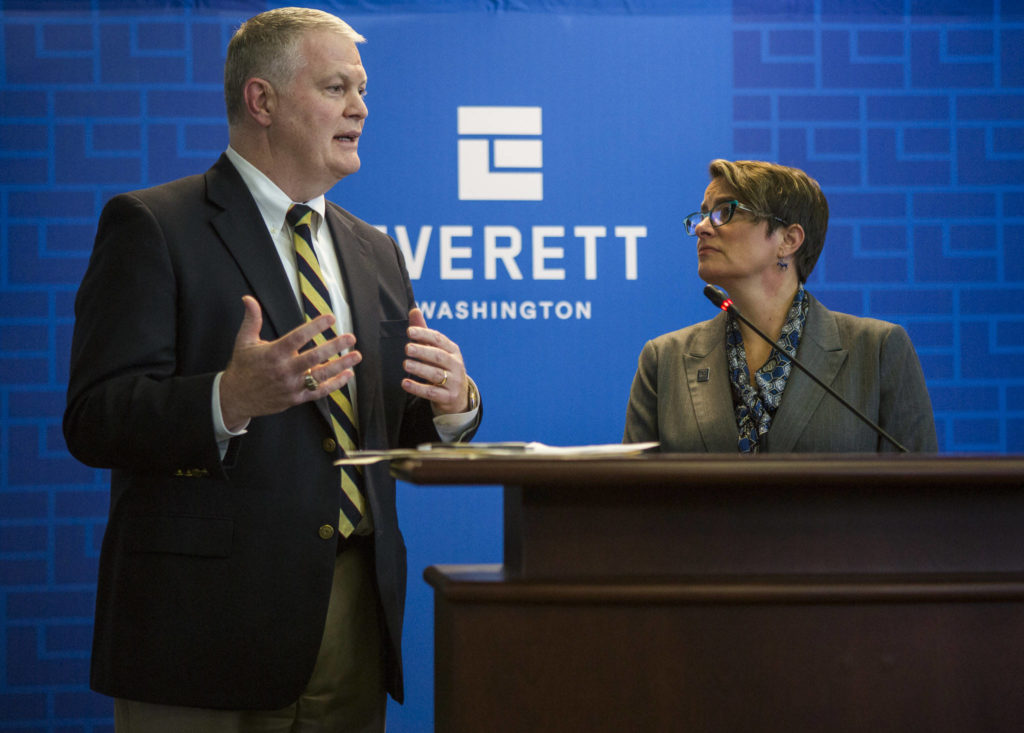 Everett City Councilman Scott Murphy answers questions after Mayor Cassie Franklin's 2020 budget address at the Everett City Council Chambers on Wednesday. (Olivia Vanni / The Herald)