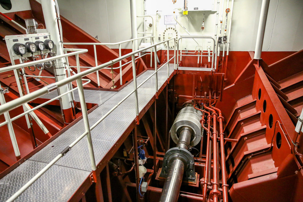 Shaft alley aboard the Puyallup at the Eagle Harbor Maintenance Facility in Bainbridge on October 31, 2019. (Kevin Clark / The Herald)