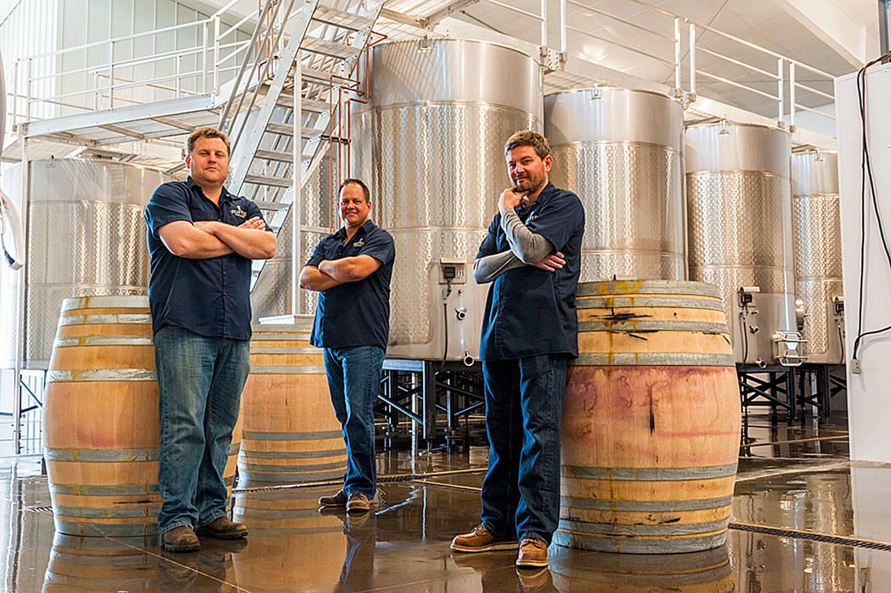 Griffin Frey (left) and co-founders Corey Braunel (center) and Chad Johnson (right) head up the winemaking team at Dusted Valley Vintners in Walla Walla. (Richard Duval Images)