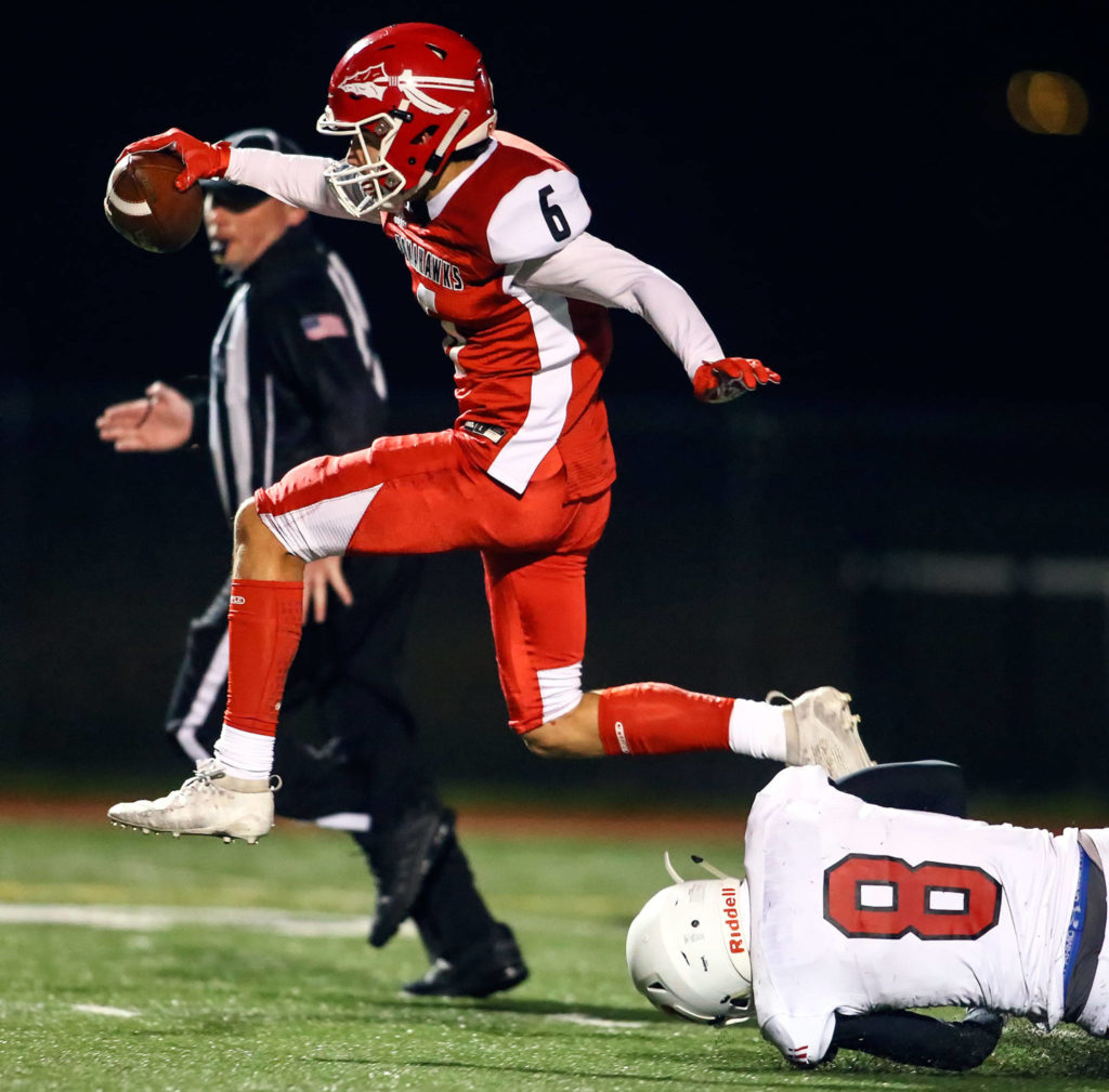 Marysville Pilchuck versus Snohomish in the Wesco 3A Championship Friday evening at Quil Ceda Stadium on November 1, 2019.(Kevin Clark / The Herald)
